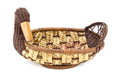 Vintage weave wicker basket. Isolated on white background Royalty Free Stock Images