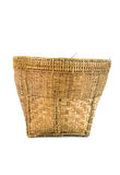 Vintage weave wicker basket. Isolated on white background Stock Photos