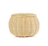 Vintage weave wicker basket isolated on white background.  Stock Photos