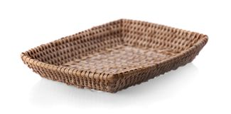 Vintage weave wicker basket isolated on white background. Vintage weave wickers basket isolated on white background Stock Image