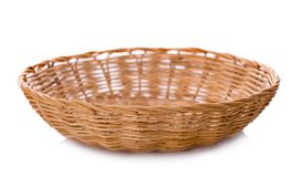 Vintage weave wicker basket isolated on white background Stock Images
