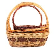 Vintage weave wicker baskets Royalty Free Stock Photos