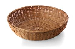 Vintage weave wicker basket isolated on white background. Vintage weave wickers basket isolated on white background Royalty Free Stock Image