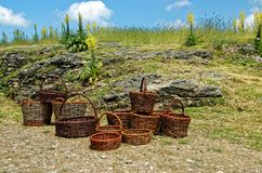 Vintage weave wicket basket. Background Stock Image
