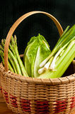Vintage weaved reed basket of organic vegetables Royalty Free Stock Photos