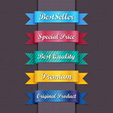 Vintage Web Ribbons. Bestseller. Set of Red Superior Quality and Satisfaction Guarantee Ribbons. Retro vintage style, eps 10 Royalty Free Stock Photo