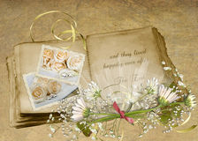 Vintage Wedding Album. Old wedding album with flower bouquet and textured background vector illustration