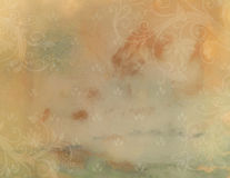 Horizontal Vintage Background. This is a horizontal illustration of a background of swirls and flowers set in warm colors for a vintage wedding announcement Royalty Free Stock Photos