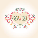 Vintage wedding badge in the shape of a heart Royalty Free Stock Photo