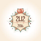 Vintage wedding badge with space for the date of. The wedding. For wedding decoration in pomegranate  style. Vector illustration Stock Photography