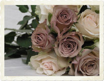 Vintage wedding bouquet. Early Color photographic reproduction of a very beauriful wedding bouquet with brownish (very special!) roses royalty free stock photos