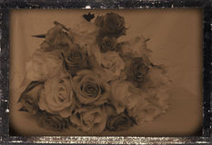 Vintage wedding bouquet. Daguerreotype camera photographic reproduction of a very beauriful wedding bouquet with roses royalty free stock images