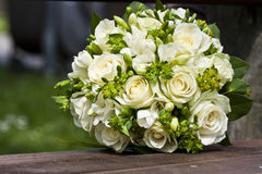 The vintage wedding bouquet. The wintage bunch made of white roses Stock Photo