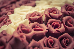 Vintage wedding cake. Sweet symbol of love. A delicious YES when a man loves a woman. Wonderful macro shot with details. Vintage style Royalty Free Stock Photography