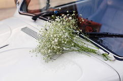 Vintage Wedding Car Decorated with Flowers. Stock Photography