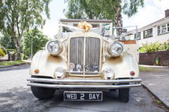 Vintage wedding car stock photography