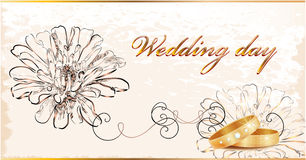 Vintage wedding card. Royalty Free Stock Photography