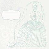 Vintage wedding card with bride Royalty Free Stock Photo