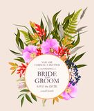 Vintage wedding card with flowers and greenery stock photos