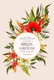 Vintage wedding card with flowers and greenery stock images