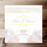 Vintage Wedding card or invitation with abstract lace background and borders on a realistic wood texture Stock Photos