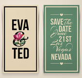 Vintage wedding card with pink tulip. Vector illustration Stock Photo