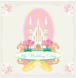 Vintage wedding card with rings and Catholic Church Royalty Free Stock Images