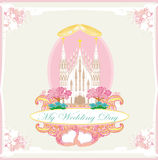 Vintage wedding card with rings and Churchn Stock Photography