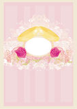 Vintage wedding card with rings Royalty Free Stock Photo