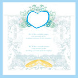 Vintage wedding card with rings stock illustration