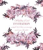 Vintage Wedding card with roses wreath Vector. Beautiful flowers garland. Invitation elegant decor realistic 3d. Illustration royalty free illustration