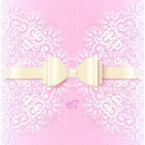 Vintage wedding card template with white bow Stock Photos