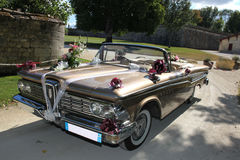 Vintage wedding cars. The old American convertible car for married royalty free stock images