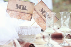 Vintage wedding ceremony accessories Royalty Free Stock Photography