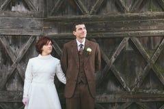 Vintage wedding couple stock image