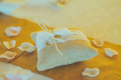 Vintage wedding decoration wirh rings Royalty Free Stock Images