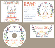 Vintage wedding design template se.Colored doodles Stock Photo