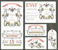 Vintage wedding design template set.Floral decor Stock Photography