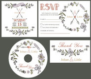 Vintage wedding design template set with flowers Royalty Free Stock Images