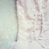 Vintage wedding dress corset background with glitter overlay. wedding concept. filtered image Stock Photo