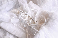 Vintage wedding dress corset background with glitter overlay. wedding concept. filtered image Royalty Free Stock Photos