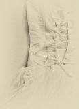 Vintage wedding dress corset background. wedding concept. black and white photo Royalty Free Stock Images