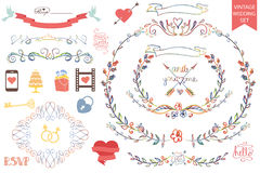 Vintage wedding Floral doodle Decor,icons set. Retro wedding design template set with floral decor,ribbons,icons and swirling border. Watercolor doodles,pencil Royalty Free Stock Photos