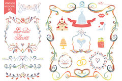 Vintage wedding Floral doodle Decor,icons set Stock Images