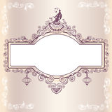 Vintage wedding frame with bird Stock Photography