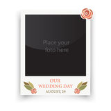 Vintage wedding frame. Template for photo of the bride and groom. Vector illustration Stock Images