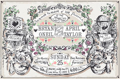Vintage Wedding Hand Drawn Banners and Labels Royalty Free Stock Photo