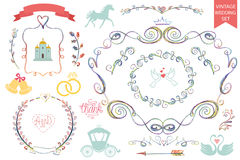 Vintage wedding icons,Floral doodle Decor set Stock Photo