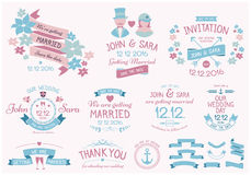 Vintage Wedding Insignias. Wedding vintage style vector elements. Insignias, badges. EPS10, outlined Royalty Free Stock Image