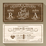 Vintage Wedding invitation border and frame template Stock Images